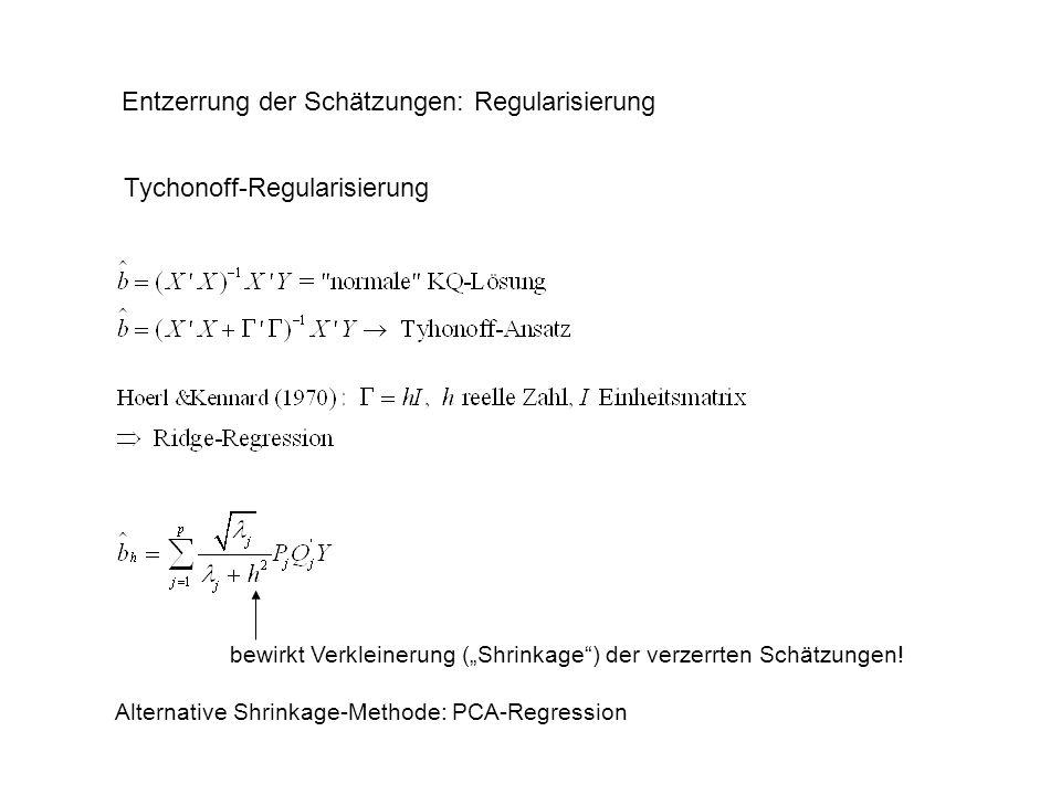Entzerrung der Schätzungen: Regularisierung Tychonoff-Regularisierung bewirkt Verkleinerung (Shrinkage) der verzerrten Schätzungen! Alternative Shrink