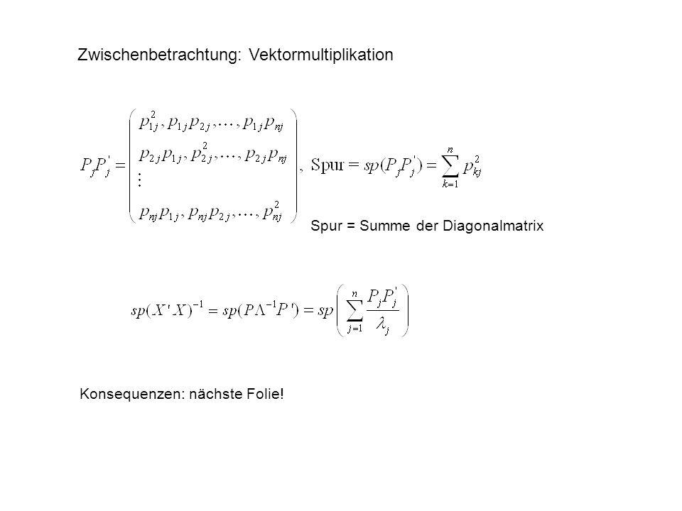 Zwischenbetrachtung: Vektormultiplikation Spur = Summe der Diagonalmatrix Konsequenzen: nächste Folie!