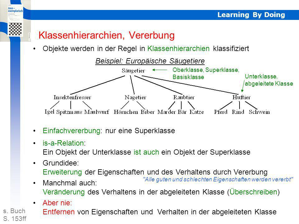 Learning By Doing Klassenhierarchien, Vererbung Objekte werden in der Regel in Klassenhierarchien klassifiziert Beispiel: Europäische Säugetiere Einfa