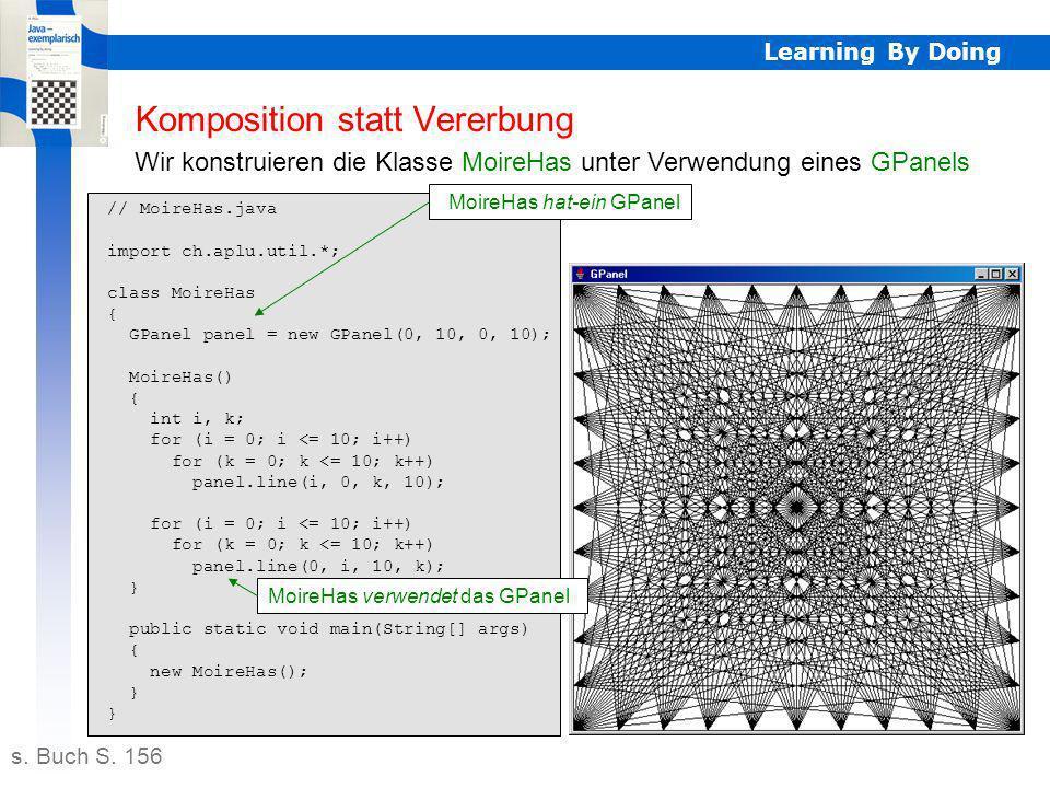 // MoireHas.java import ch.aplu.util.*; class MoireHas { GPanel panel = new GPanel(0, 10, 0, 10); MoireHas() { int i, k; for (i = 0; i <= 10; i++) for (k = 0; k <= 10; k++) panel.line(i, 0, k, 10); for (i = 0; i <= 10; i++) for (k = 0; k <= 10; k++) panel.line(0, i, 10, k); } public static void main(String[] args) { new MoireHas(); } Learning By Doing Komposition statt Vererbung Wir konstruieren die Klasse MoireHas unter Verwendung eines GPanels s.