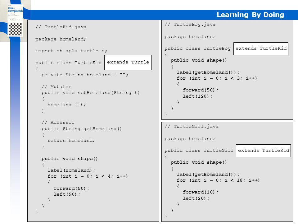 Learning By Doing // TurtleBoy.java package homeland; public class TurtleBoy extends TurtleKid { public void shape() { label(getHomeland()); for (int i = 0; i < 3; i++) { forward(50); left(120); } // TurtleGirl.java package homeland; public class TurtleGirl extends TurtleKid { public void shape() { label(getHomeland()); for (int i = 0; i < 18; i++) { forward(10); left(20); } // TurtleKid.java package homeland; import ch.aplu.turtle.*; public class TurtleKid extends Turtle { private String homeland = ; // Mutator public void setHomeland(String h) { homeland = h; } // Accessor public String getHomeland() { return homeland; } public void shape() { label(homeland); for (int i = 0; i < 4; i++) { forward(50); left(90); } extends Turtle extends TurtleKid Programme