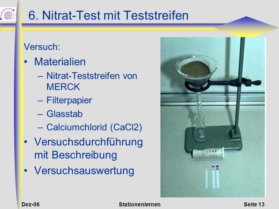 Dez-06StationenlernenSeite 13 6. Nitrat-Test mit Teststreifen Versuch: Materialien –Nitrat-Teststreifen von MERCK –Filterpapier –Glasstab –Calciumchlo