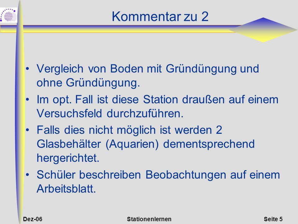 Dez-06StationenlernenSeite 16 Kommentar zu 7 Hier werden die Erkenntnisse aus Station 2 erweitert und durch Textarbeit vertieft.