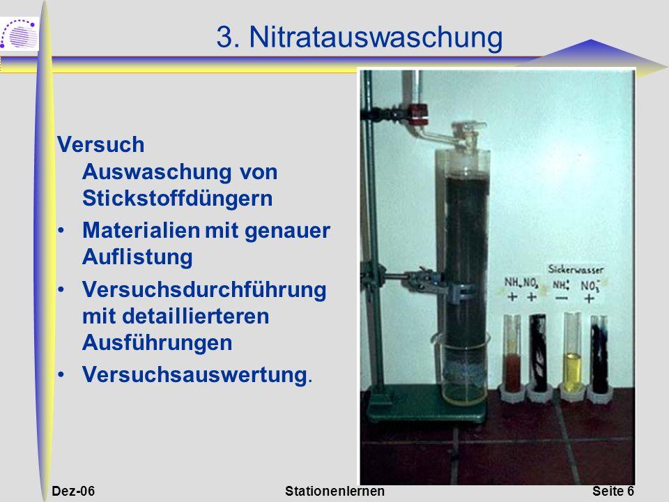 Dez-06StationenlernenSeite 6 3. Nitratauswaschung Versuch Auswaschung von Stickstoffdüngern Materialien mit genauer Auflistung Versuchsdurchführung mi