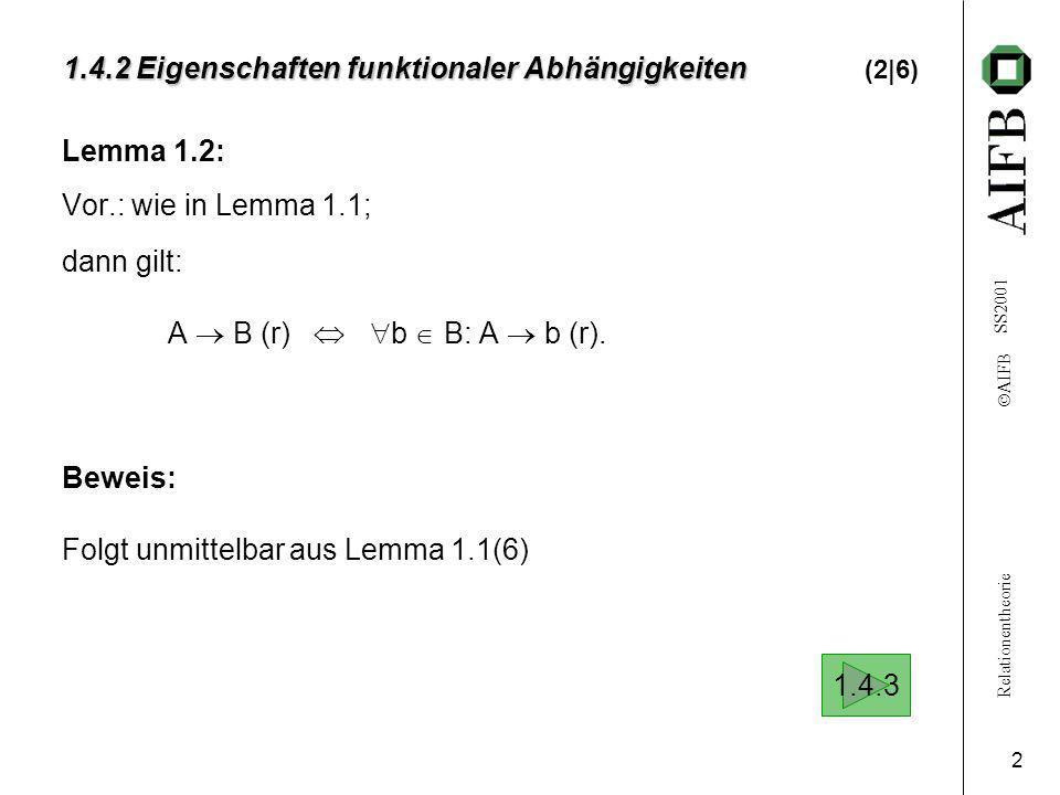 Relationentheorie AIFB SS2001 2 1.4.2 Eigenschaften funktionaler Abhängigkeiten 1.4.2 Eigenschaften funktionaler Abhängigkeiten (2|6) Lemma 1.2: Vor.: wie in Lemma 1.1; dann gilt: A B (r) b B: A b (r).