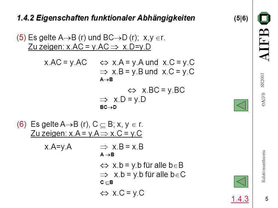 Relationentheorie AIFB SS2001 5 1.4.2 Eigenschaften funktionaler Abhängigkeiten 1.4.2 Eigenschaften funktionaler Abhängigkeiten (5|6) (5)Es gelte A B (r) und BC D (r); x,y r.
