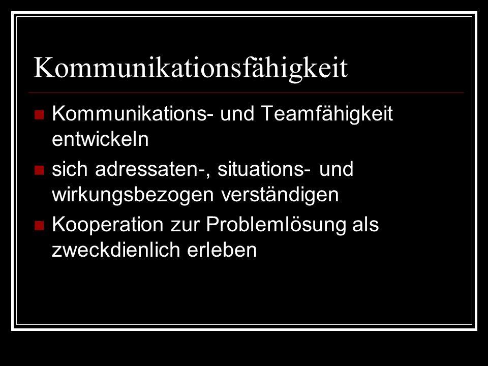Kommunikationsfähigkeit Kommunikations- und Teamfähigkeit entwickeln sich adressaten-, situations- und wirkungsbezogen verständigen Kooperation zur Pr