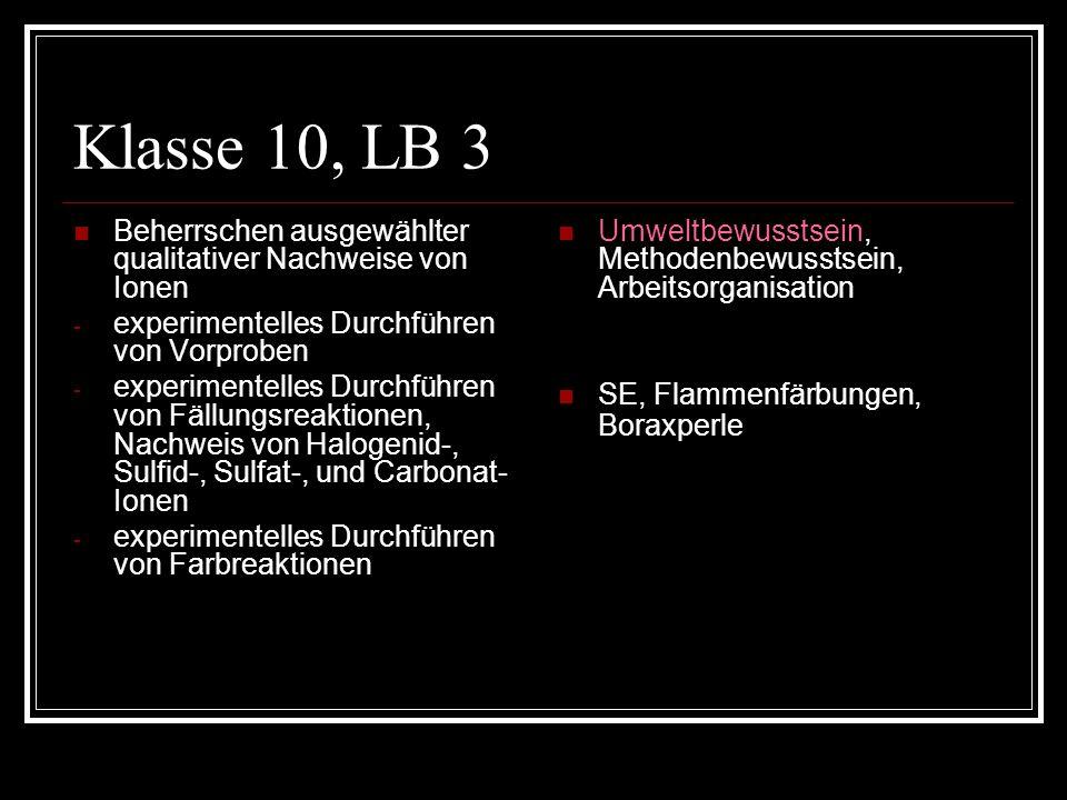 Klasse 10, LB 3 Beherrschen ausgewählter qualitativer Nachweise von Ionen - experimentelles Durchführen von Vorproben - experimentelles Durchführen vo