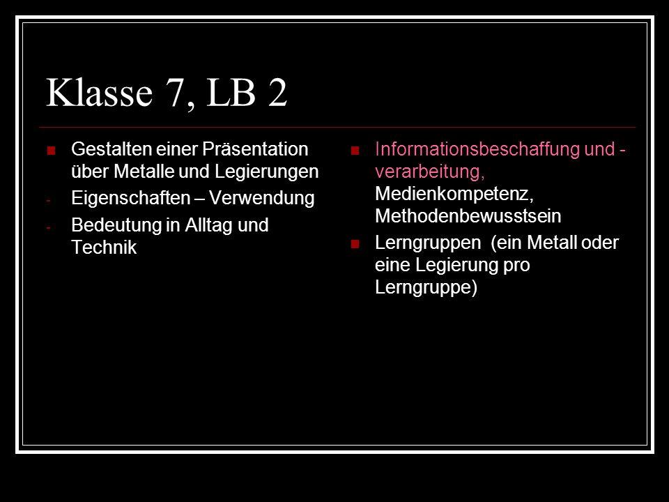 Klasse 7, LB 2 Gestalten einer Präsentation über Metalle und Legierungen - Eigenschaften – Verwendung - Bedeutung in Alltag und Technik Informationsbe