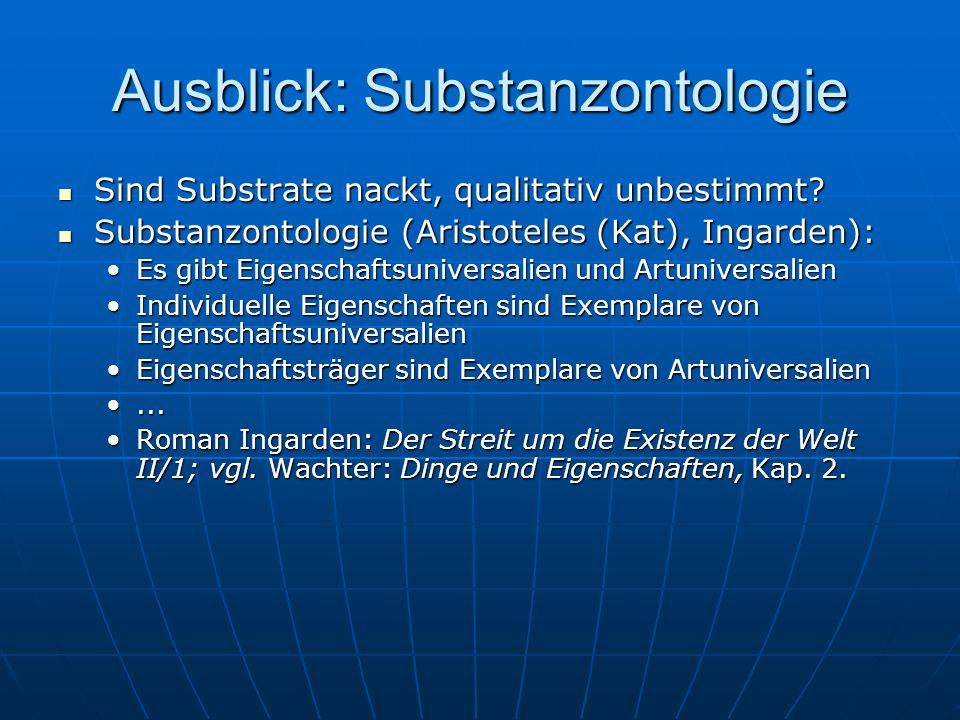 Ausblick: Substanzontologie Sind Substrate nackt, qualitativ unbestimmt.