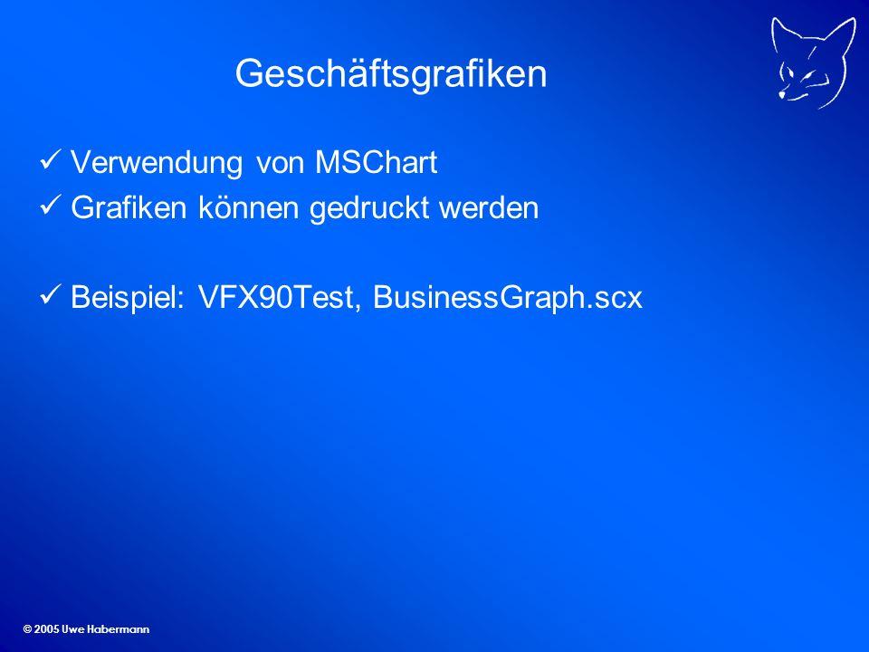 © 2005 Uwe Habermann Geschäftsgrafiken Verwendung von MSChart Grafiken können gedruckt werden Beispiel: VFX90Test, BusinessGraph.scx