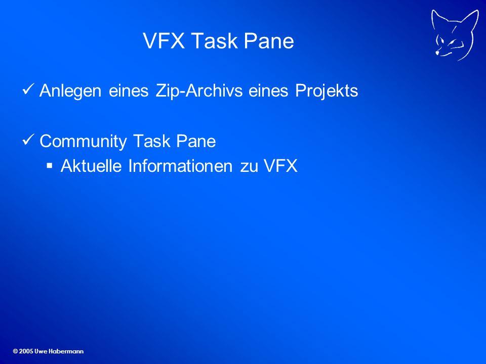 © 2005 Uwe Habermann VFX Task Pane Anlegen eines Zip-Archivs eines Projekts Community Task Pane Aktuelle Informationen zu VFX