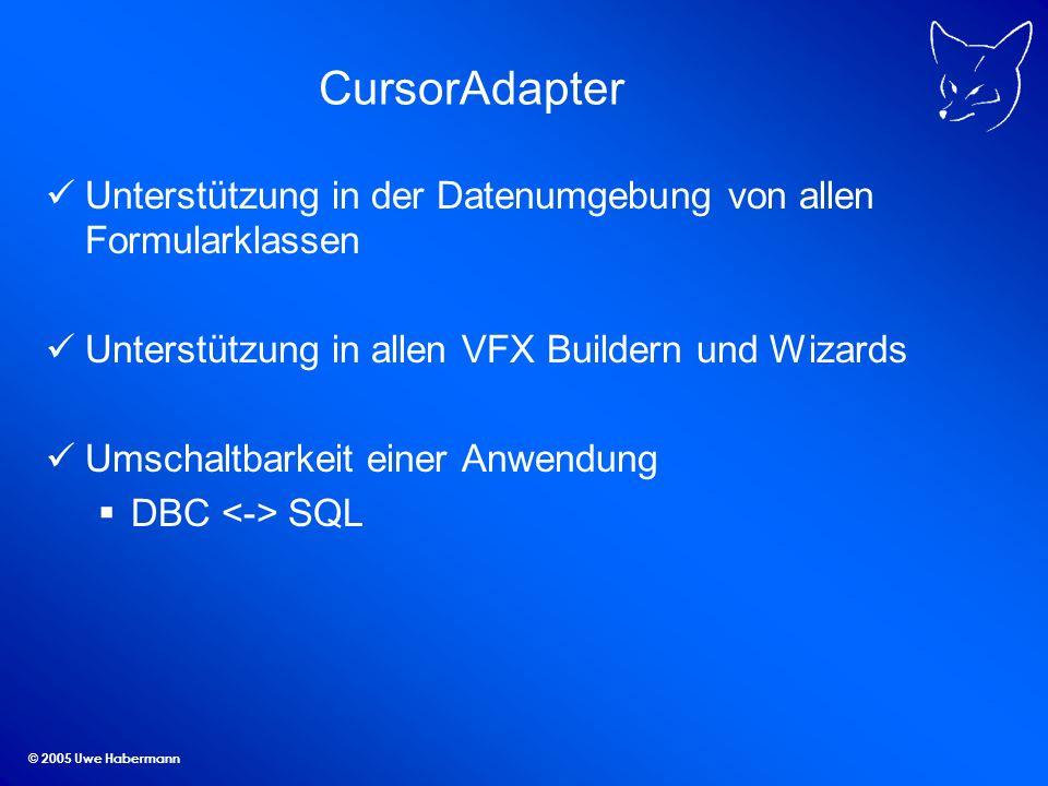 © 2005 Uwe Habermann CursorAdapter Wizard Automatische Generierung von CursorAdapter- Klassen zu allen Tabellen einer Datenbank DBC oder SQL Auswahl der Datenquelle Auswahl der Klassen und Klassenbibliotheken Einstellungen aktualisierbarer Felder