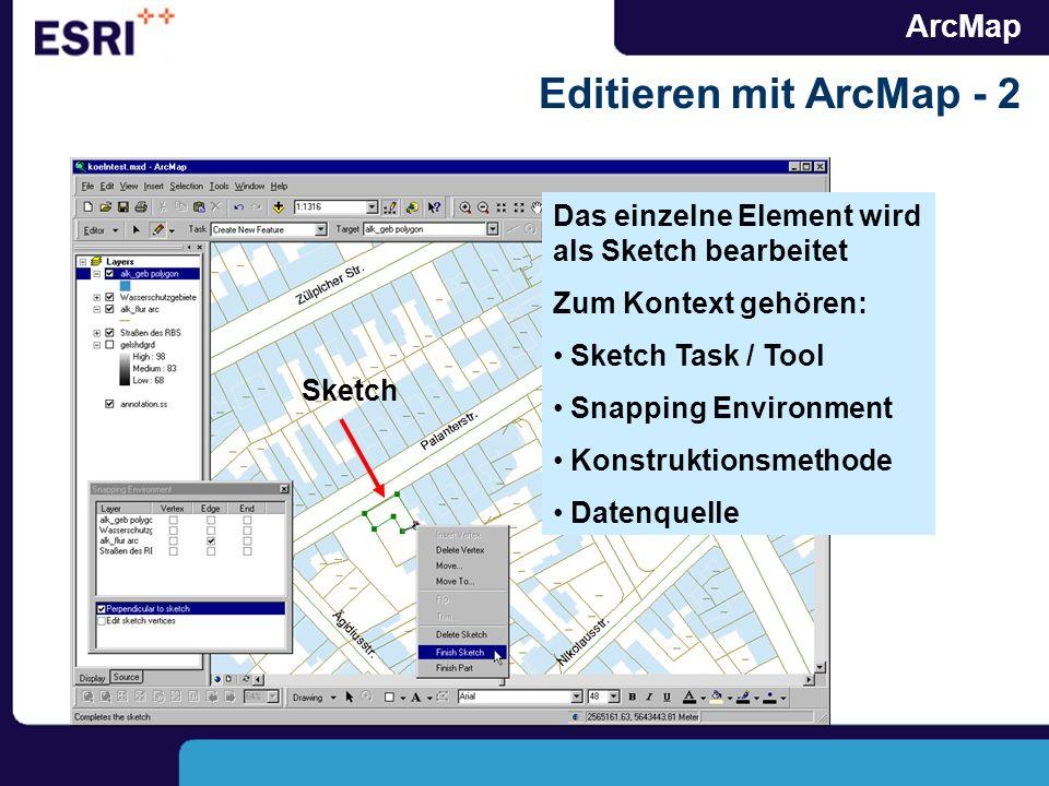 ArcMap Editieren mit ArcMap - 2 Das einzelne Element wird als Sketch bearbeitet Zum Kontext gehören: Sketch Task / Tool Snapping Environment Konstrukt
