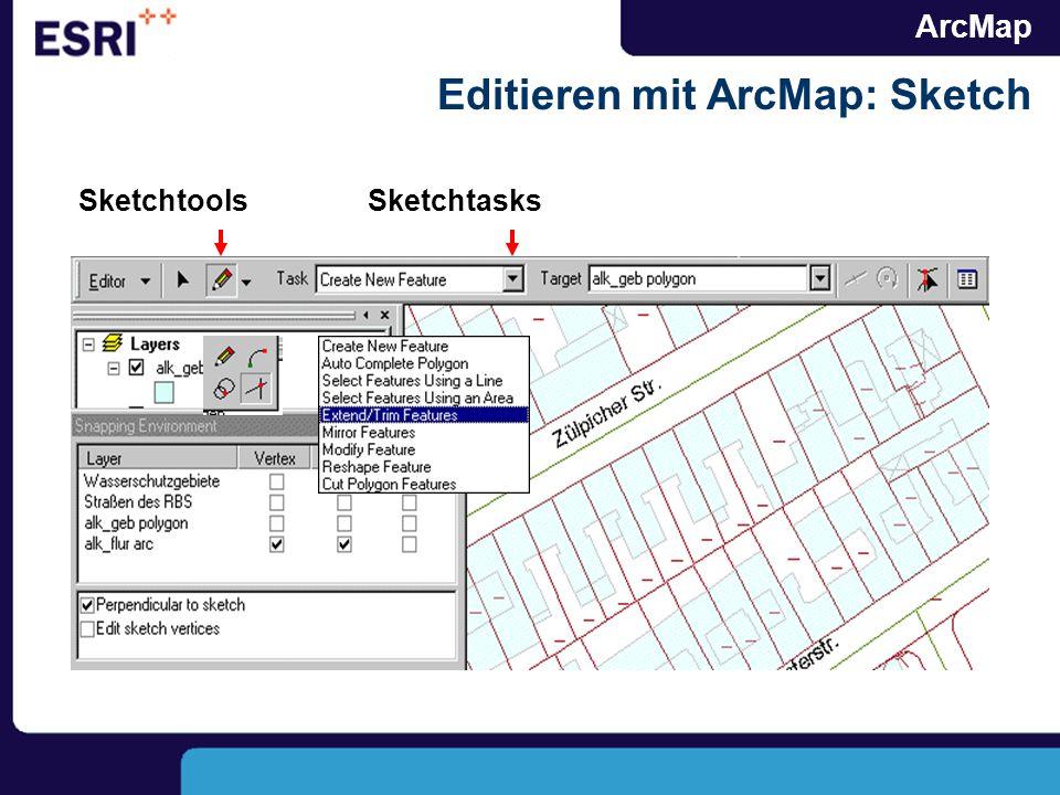 ArcMap Editieren mit ArcMap: Sketch SketchtoolsSketchtasks