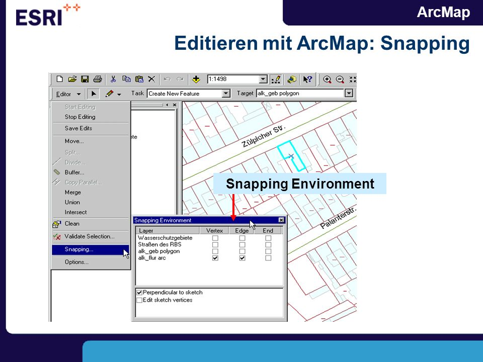 ArcMap Editieren mit ArcMap: Snapping Snapping Environment