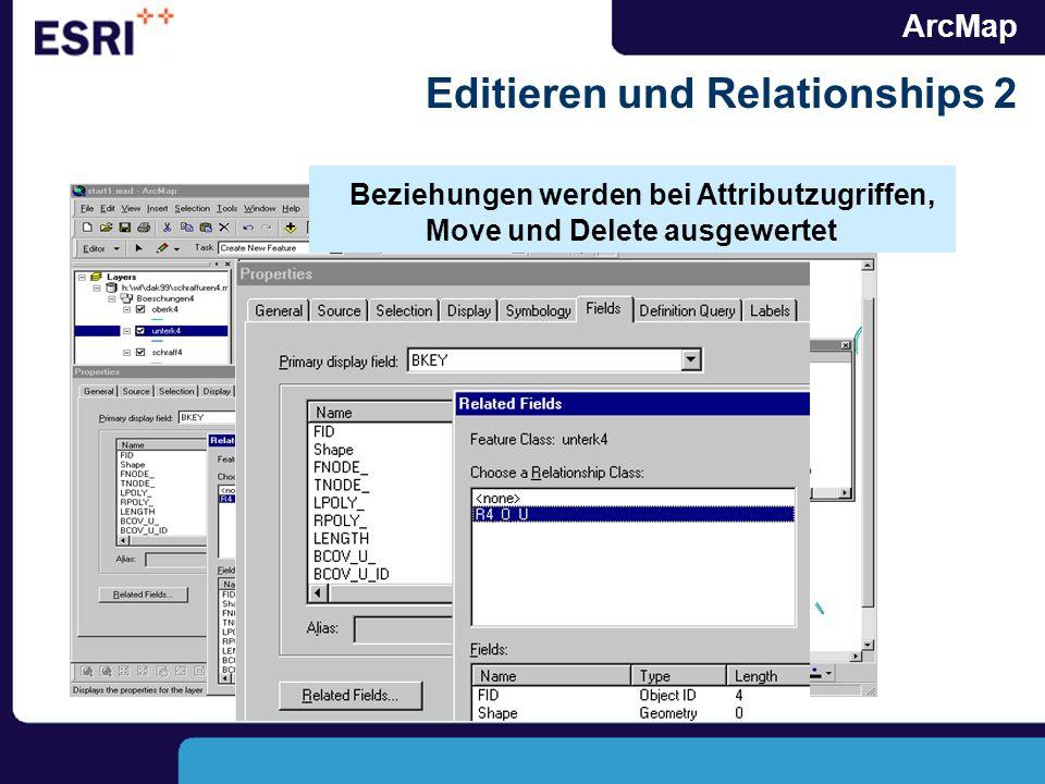 ArcMap Editieren und Relationships 2 Beziehungen werden bei Attributzugriffen, Move und Delete ausgewertet