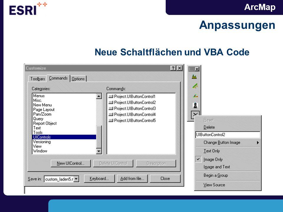ArcMap Anpassungen Neue Schaltflächen und VBA Code