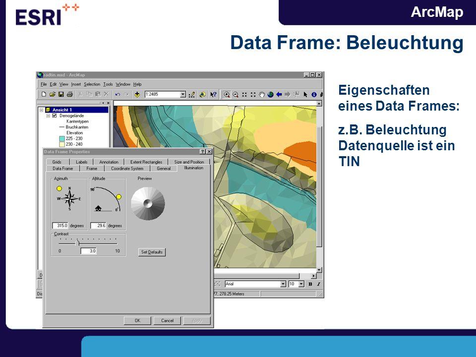 ArcMap Data Frame: Beleuchtung Eigenschaften eines Data Frames: z.B. Beleuchtung Datenquelle ist ein TIN