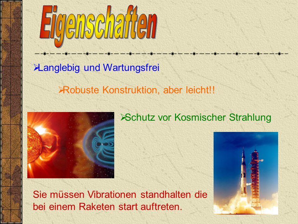 Langlebig und Wartungsfrei Schutz vor Kosmischer Strahlung Robuste Konstruktion, aber leicht!.