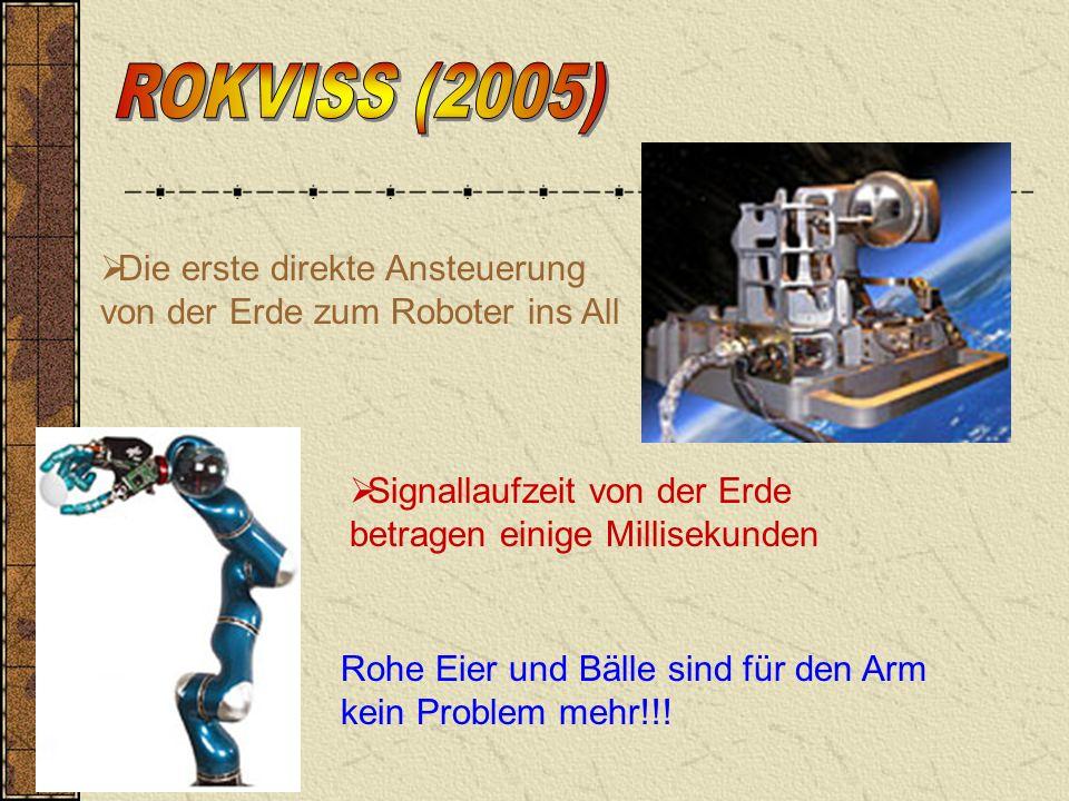 Die erste direkte Ansteuerung von der Erde zum Roboter ins All Signallaufzeit von der Erde betragen einige Millisekunden Rohe Eier und Bälle sind für den Arm kein Problem mehr!!!
