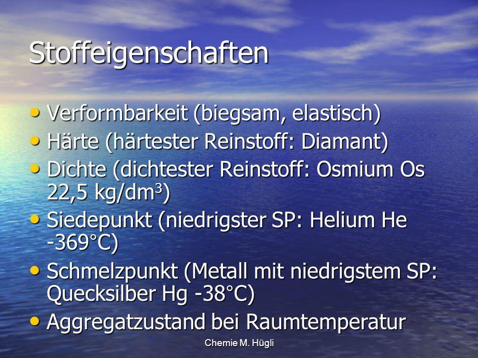 Chemie M. Hügli Stoffeigenschaften Verformbarkeit (biegsam, elastisch) Verformbarkeit (biegsam, elastisch) Härte (härtester Reinstoff: Diamant) Härte
