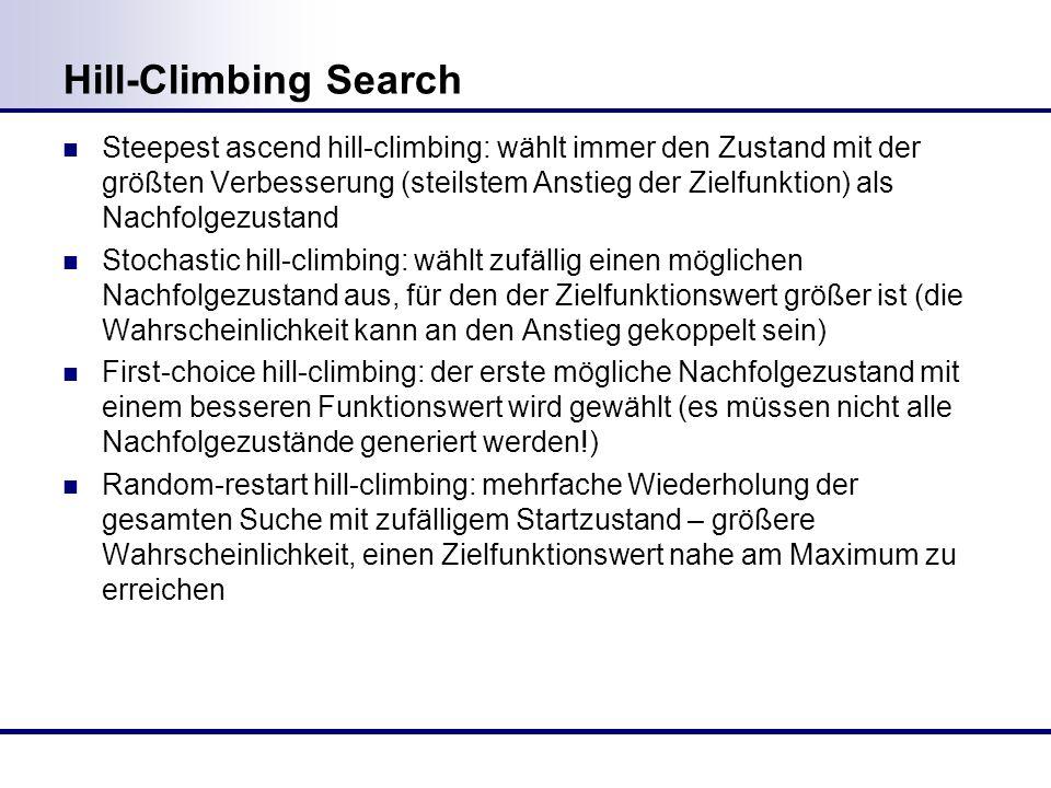Hill-Climbing Search Steepest ascend hill-climbing: wählt immer den Zustand mit der größten Verbesserung (steilstem Anstieg der Zielfunktion) als Nachfolgezustand Stochastic hill-climbing: wählt zufällig einen möglichen Nachfolgezustand aus, für den der Zielfunktionswert größer ist (die Wahrscheinlichkeit kann an den Anstieg gekoppelt sein) First-choice hill-climbing: der erste mögliche Nachfolgezustand mit einem besseren Funktionswert wird gewählt (es müssen nicht alle Nachfolgezustände generiert werden!) Random-restart hill-climbing: mehrfache Wiederholung der gesamten Suche mit zufälligem Startzustand – größere Wahrscheinlichkeit, einen Zielfunktionswert nahe am Maximum zu erreichen