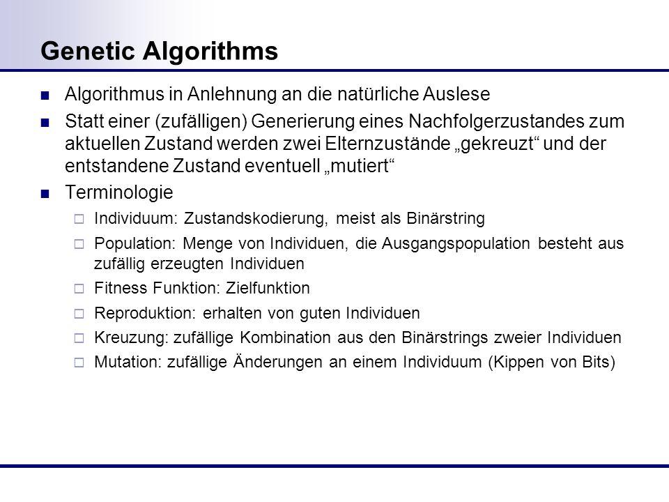 Genetic Algorithms Algorithmus in Anlehnung an die natürliche Auslese Statt einer (zufälligen) Generierung eines Nachfolgerzustandes zum aktuellen Zustand werden zwei Elternzustände gekreuzt und der entstandene Zustand eventuell mutiert Terminologie Individuum: Zustandskodierung, meist als Binärstring Population: Menge von Individuen, die Ausgangspopulation besteht aus zufällig erzeugten Individuen Fitness Funktion: Zielfunktion Reproduktion: erhalten von guten Individuen Kreuzung:zufällige Kombination aus den Binärstrings zweier Individuen Mutation: zufällige Änderungen an einem Individuum (Kippen von Bits)