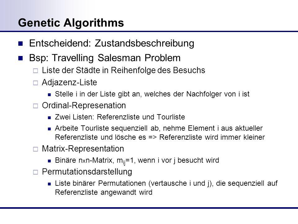 Genetic Algorithms Entscheidend: Zustandsbeschreibung Bsp: Travelling Salesman Problem Liste der Städte in Reihenfolge des Besuchs Adjazenz-Liste Stelle i in der Liste gibt an, welches der Nachfolger von i ist Ordinal-Represenation Zwei Listen: Referenzliste und Tourliste Arbeite Tourliste sequenziell ab, nehme Element i aus aktueller Referenzliste und lösche es => Referenzliste wird immer kleiner Matrix-Representation Binäre n x n-Matrix, m ij =1, wenn i vor j besucht wird Permutationsdarstellung Liste binärer Permutationen (vertausche i und j), die sequenziell auf Referenzliste angewandt wird