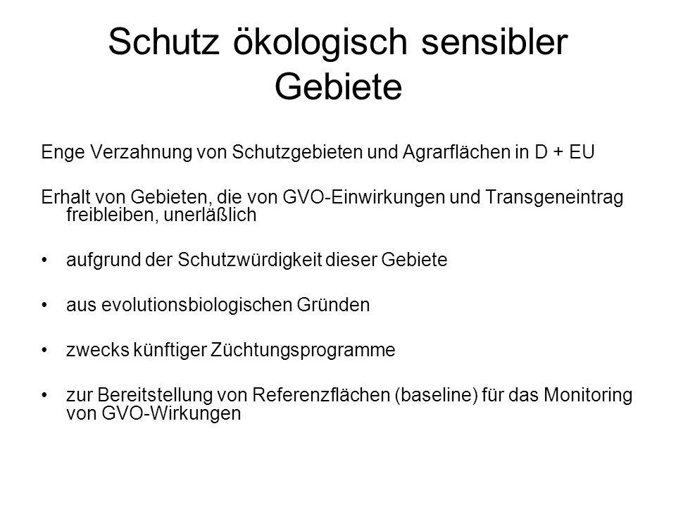 Schutz ökologisch sensibler Gebiete Enge Verzahnung von Schutzgebieten und Agrarflächen in D + EU Erhalt von Gebieten, die von GVO-Einwirkungen und Tr