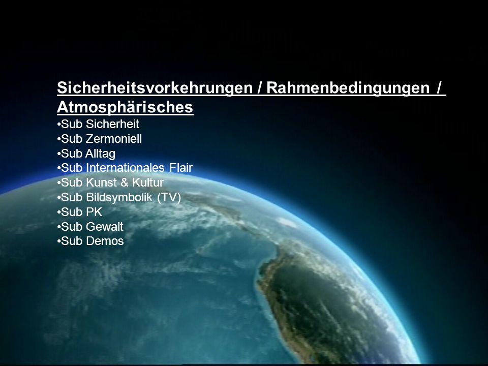 Sicherheitsvorkehrungen / Rahmenbedingungen / Atmosphärisches Sub Sicherheit Sub Zermoniell Sub Alltag Sub Internationales Flair Sub Kunst & Kultur Su