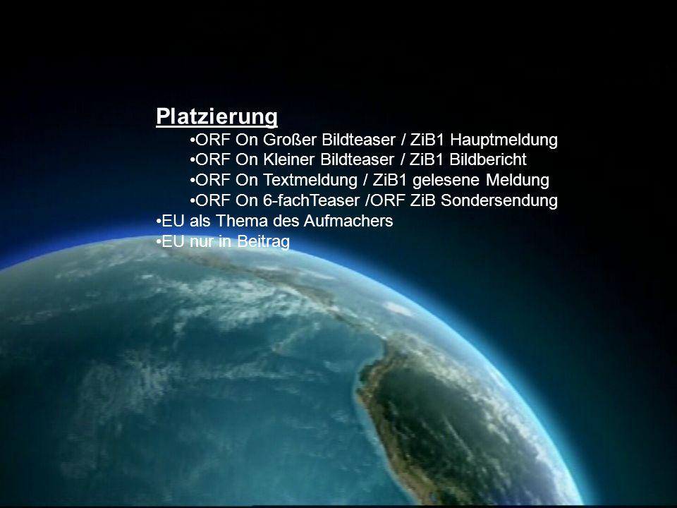 Platzierung ORF On Großer Bildteaser / ZiB1 Hauptmeldung ORF On Kleiner Bildteaser / ZiB1 Bildbericht ORF On Textmeldung / ZiB1 gelesene Meldung ORF O