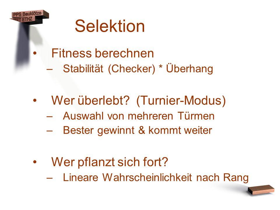Selektion Fitness berechnen –Stabilität (Checker) * Überhang Wer überlebt? (Turnier-Modus) –Auswahl von mehreren Türmen –Bester gewinnt & kommt weiter