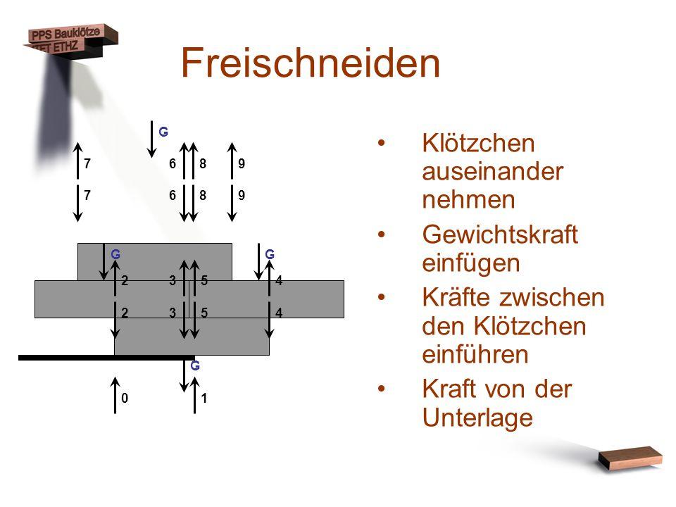 Freischneiden Klötzchen auseinander nehmen Gewichtskraft einfügen Kräfte zwischen den Klötzchen einführen Kraft von der Unterlage 0198 98 76 67 2354 5