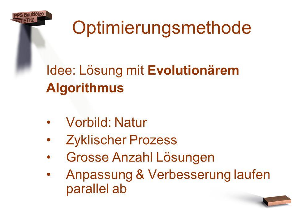 Optimierungsmethode Idee: Lösung mit Evolutionärem Algorithmus Vorbild: Natur Zyklischer Prozess Grosse Anzahl Lösungen Anpassung & Verbesserung laufe
