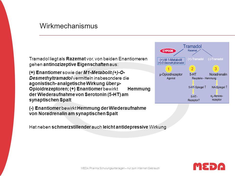 MEDA Pharma Schulungsunterlagen – nur zum internen Gebrauch Wirkmechanismus Tramadol liegt als Razemat vor, von beiden Enantiomeren gehen antinozizept