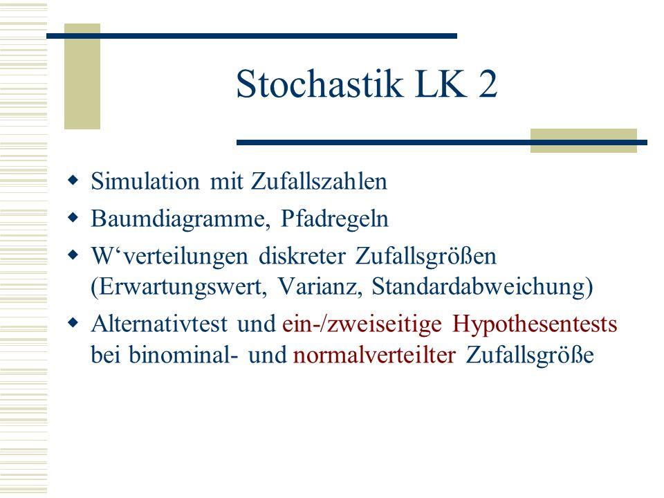 Stochastik LK 2 Simulation mit Zufallszahlen Baumdiagramme, Pfadregeln Wverteilungen diskreter Zufallsgrößen (Erwartungswert, Varianz, Standardabweichung) Alternativtest und ein-/zweiseitige Hypothesentests bei binominal- und normalverteilter Zufallsgröße