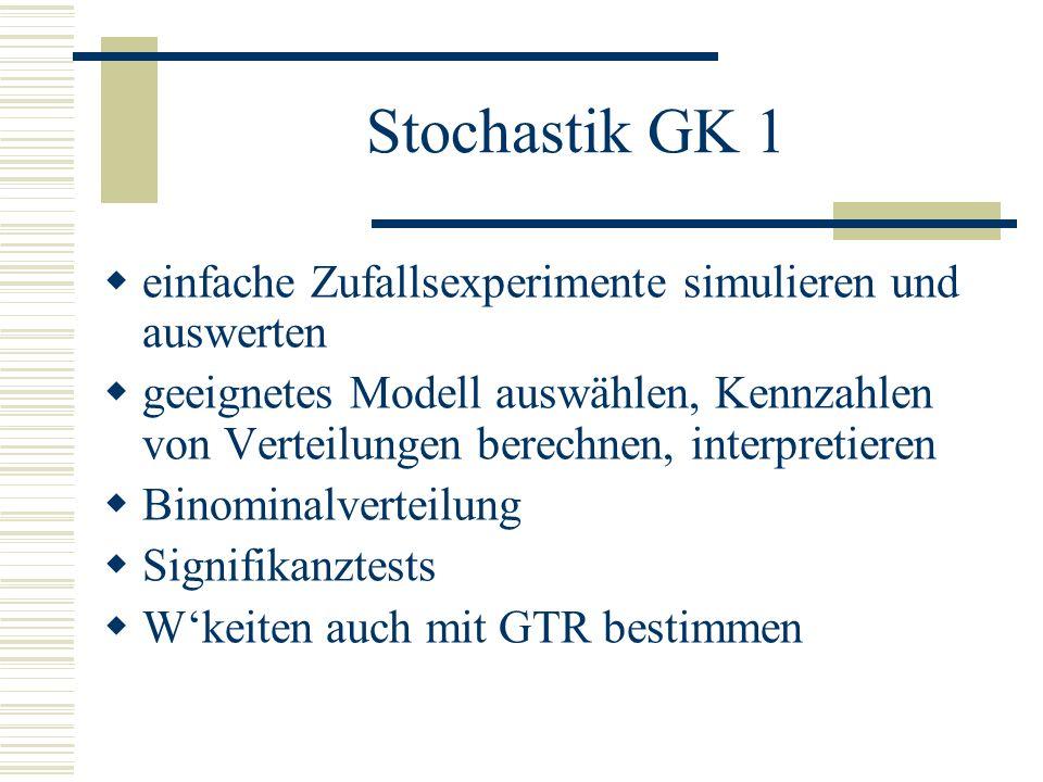 Stochastik GK 1 einfache Zufallsexperimente simulieren und auswerten geeignetes Modell auswählen, Kennzahlen von Verteilungen berechnen, interpretieren Binominalverteilung Signifikanztests Wkeiten auch mit GTR bestimmen