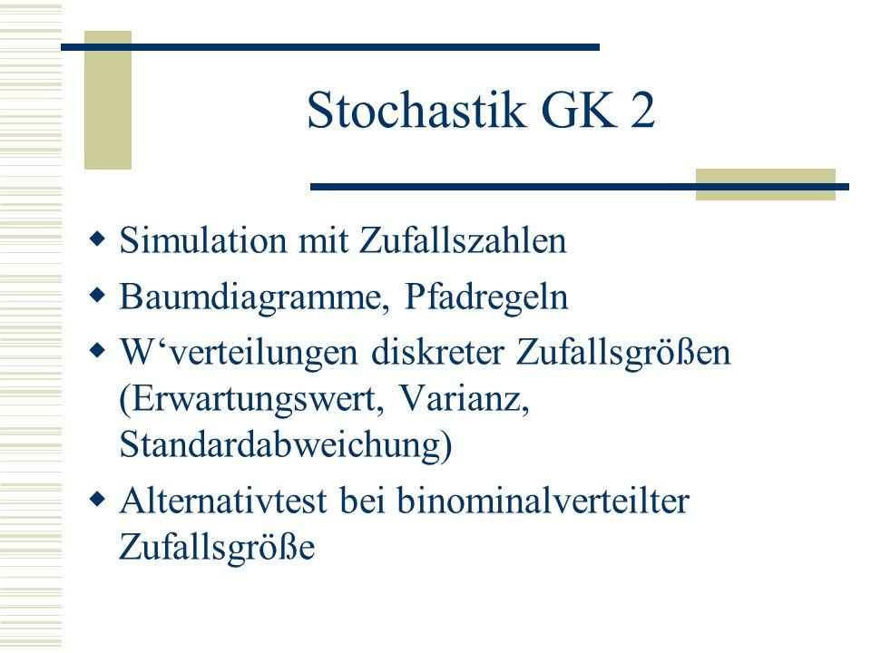 Stochastik LK 1 einfache Zufallsexperimente simulieren und auswerten geeignetes Modell auswählen, Kennzahlen von Verteilungen berechnen, interpretieren Binominalverteilung und Normalverteilung Signifikanztests Wkeiten auch mit Rechner bestimmen