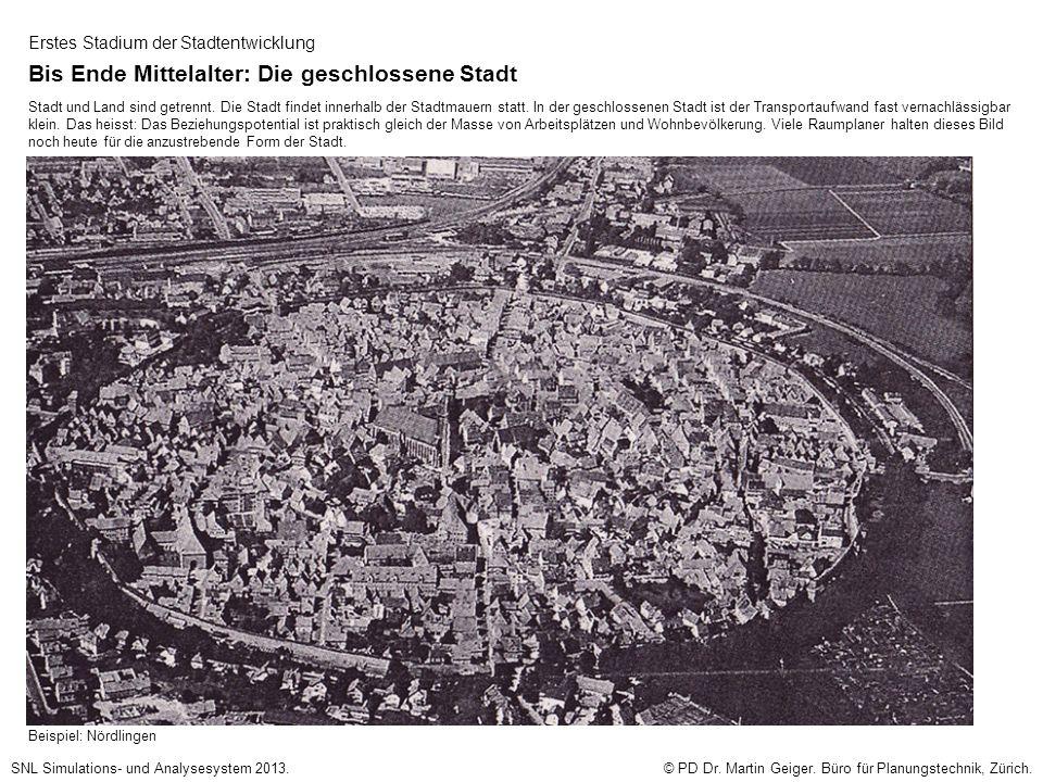 Erstes Stadium der Stadtentwicklung Bis Ende Mittelalter: Die geschlossene Stadt Stadt und Land sind getrennt.