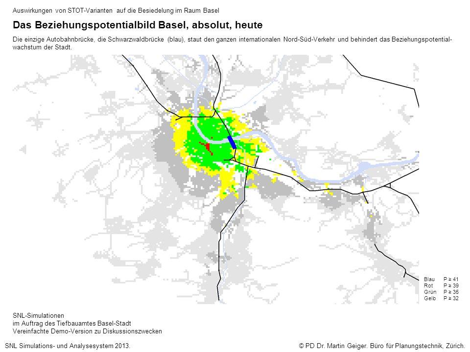 Das Beziehungspotentialbild Basel, absolut, heute Die einzige Autobahnbrücke, die Schwarzwaldbrücke (blau), staut den ganzen internationalen Nord-Süd-Verkehr und behindert das Beziehungspotential- wachstum der Stadt.