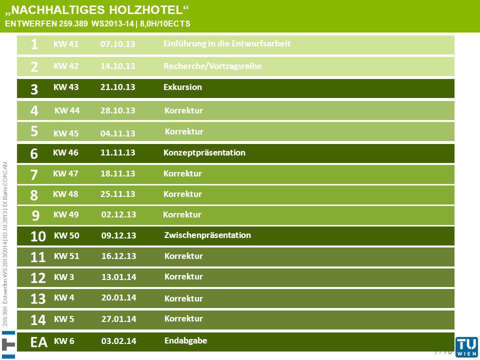259.389 Entwerfen WS 2013/2014 | 02.10.2013 | DI Baris COKCAN 7/10 TERMINE NACHHALTIGES HOLZHOTEL ENTWERFEN 259.389 WS2013-14 | 8,0H/10ECTS KW 4107.10