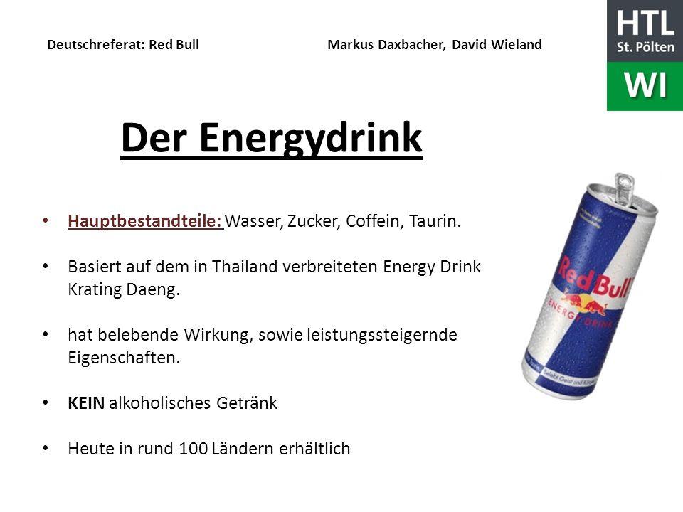 Deutschreferat: Red Bull Markus Daxbacher, David Wieland Geschichte stammt aus Japan entwickelt zur Leistungssteigerung der Piloten im zweiten Weltkrieg Idee von Dietrich Mateschitz nach Europa importiert seit 1987 auf dem österreichischen Markt ende 1980 durch geschicktes Marketing sehr erfolgreich.