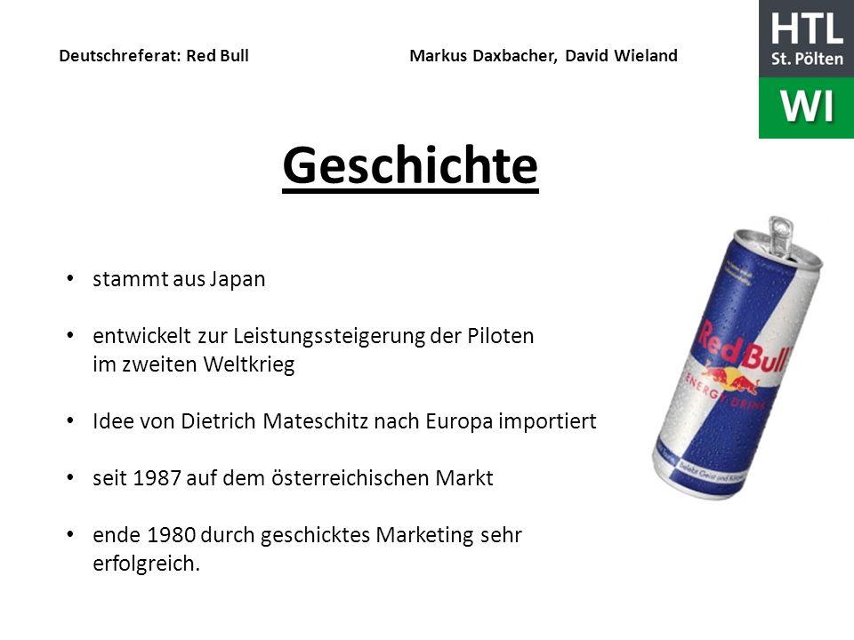 Deutschreferat: Red Bull Markus Daxbacher, David Wieland Geschichte stammt aus Japan entwickelt zur Leistungssteigerung der Piloten im zweiten Weltkri