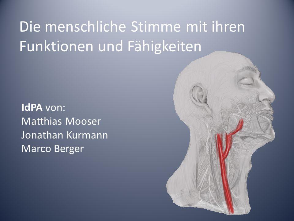 Die menschliche Stimme mit ihren Funktionen und Fähigkeiten IdPA von: Matthias Mooser Jonathan Kurmann Marco Berger