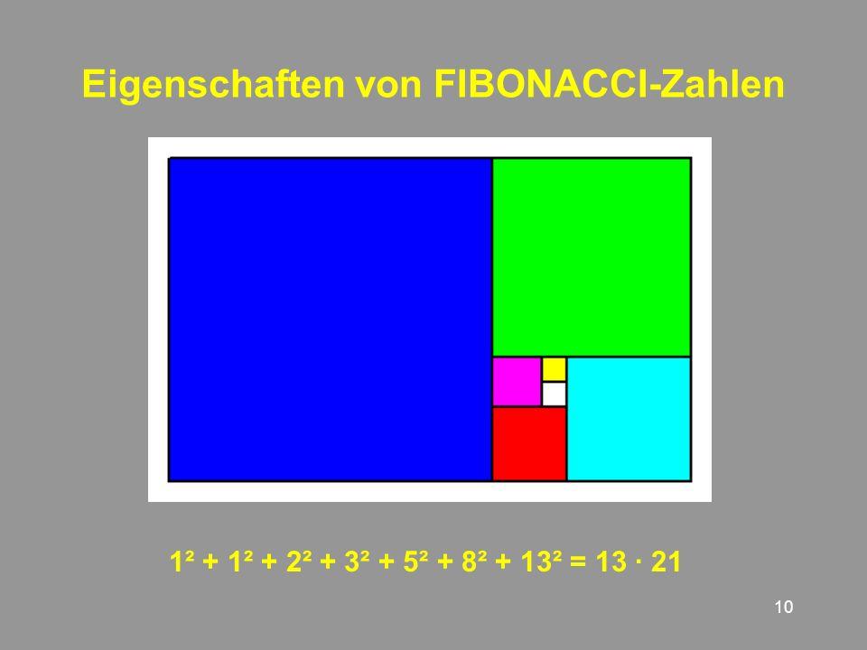 10 Eigenschaften von FIBONACCI-Zahlen 1² + + 2² + 3² + 5² + 8² + 13² = 13 · 21