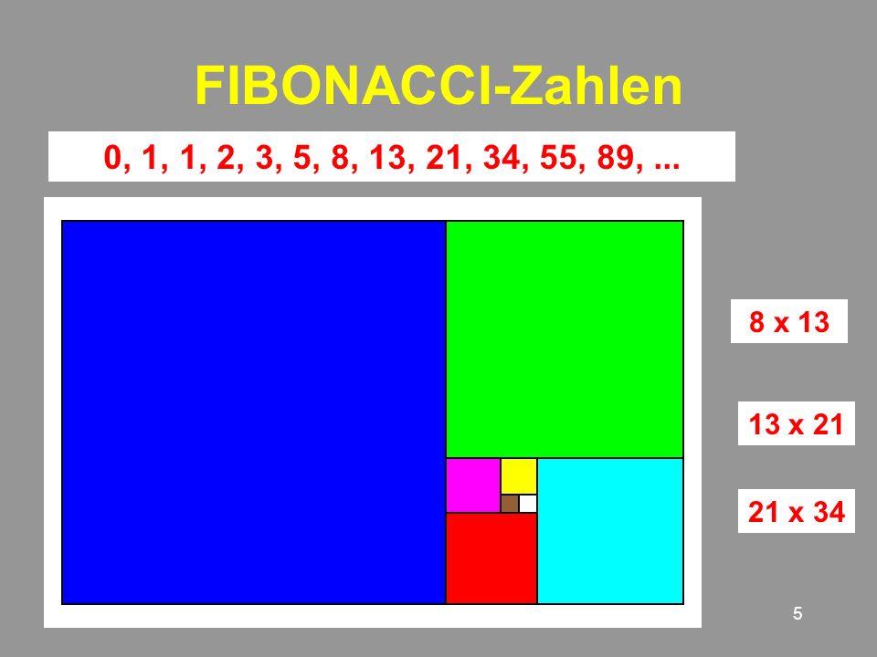 5 FIBONACCI-Zahlen 0, 1, 2, 3, 5, 8, 13, 21, 34, 55, 89,... 8 x 13 13 x 21 21 x 34