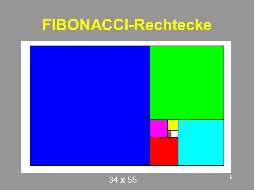 7 Eigenschaften von FIBONACCI-Zahlen 1² + + 2² = 2 · 3 1² + + 2² + 3² = 3 · 5