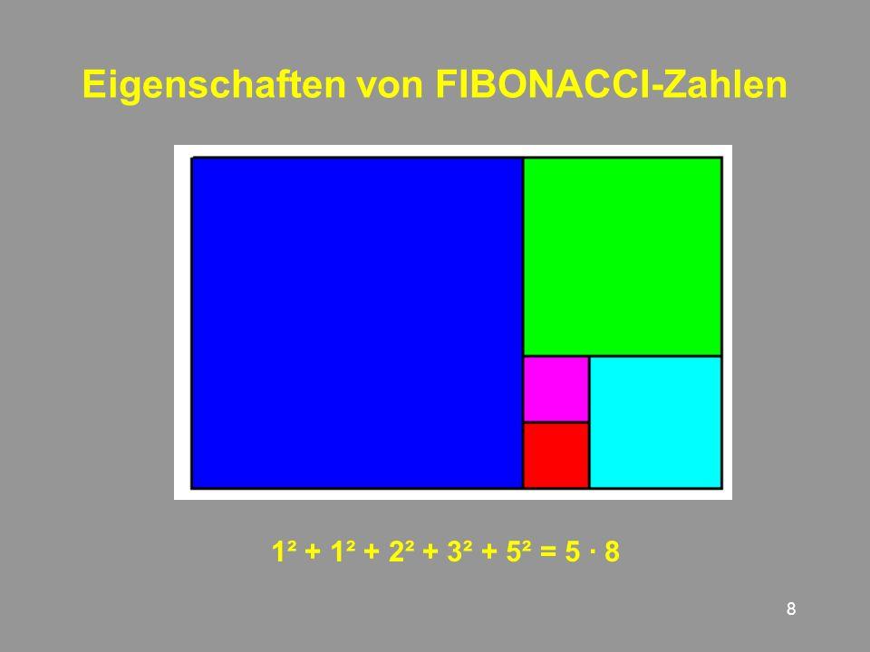 8 Eigenschaften von FIBONACCI-Zahlen 1² + + 2² + 3² + 5² = 5 · 8