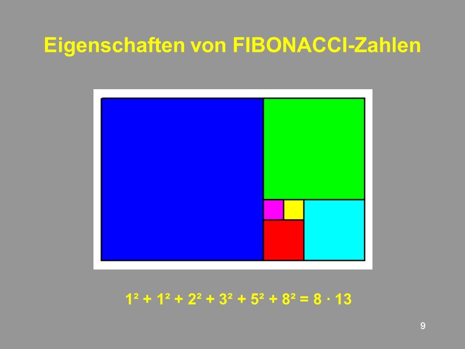 9 Eigenschaften von FIBONACCI-Zahlen 1² + + 2² + 3² + 5² + 8² = 8 · 13